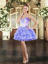 Charming Lavender Organza Lace Up Sleeveless Mini Length Beading and Ruffled Layers