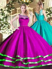 Fuchsia Lace Up Scoop Beading and Ruffled Layers Sweet 16 Dresses Organza Sleeveless