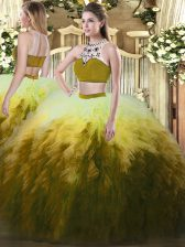 Inexpensive Multi-color Sleeveless Floor Length Beading and Ruffles Backless Quinceanera Gown