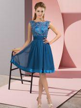 Knee Length Blue Prom Dress Chiffon Sleeveless Appliques