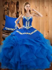 Custom Made Blue Ball Gowns Satin and Organza Sweetheart Sleeveless Embroidery and Ruffles Floor Length Lace Up Vestidos de Quinceanera