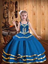 Exquisite Sleeveless Lace Up Floor Length Embroidery and Ruffled Layers Little Girls Pageant Dress