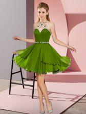 Olive Green Halter Top Neckline Beading Sleeveless Zipper