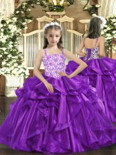 Eggplant Purple Ball Gowns Straps Sleeveless Organza Floor Length Lace Up Beading and Ruffles Winning Pageant Gowns