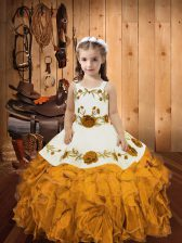 Embroidery and Ruffles Little Girls Pageant Gowns Gold Zipper Sleeveless Floor Length