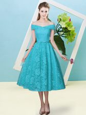 Bowknot Court Dresses for Sweet 16 Teal Lace Up Cap Sleeves Tea Length