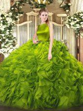 Olive Green Sleeveless Belt Floor Length Quince Ball Gowns