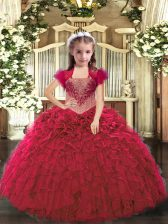 Attractive Red Organza Lace Up Straps Sleeveless Floor Length Pageant Dress for Teens Beading and Ruffles