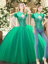 Floor Length Green Quinceanera Dresses Tulle Sleeveless Beading