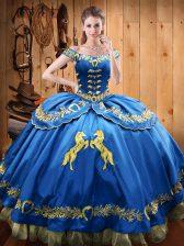 Blue Sleeveless Beading and Embroidery Floor Length Sweet 16 Dresses