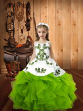 Sleeveless Embroidery and Ruffles Floor Length Pageant Dress for Teens