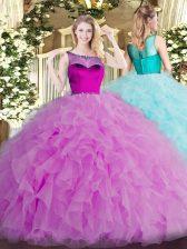 Elegant Scoop Sleeveless Organza Sweet 16 Quinceanera Dress Beading and Ruffles Zipper
