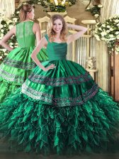 High End Dark Green Ball Gowns Beading and Lace and Ruffles Quinceanera Dress Zipper Organza Sleeveless Floor Length