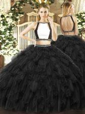 Unique Black Sleeveless Floor Length Ruffles Backless 15th Birthday Dress
