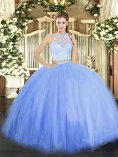 Pretty Blue Two Pieces Lace Ball Gown Prom Dress Zipper Tulle Sleeveless Floor Length
