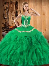 Colorful Floor Length Lace Up Quinceanera Dress Green for Military Ball and Sweet 16 and Quinceanera with Embroidery and Ruffles