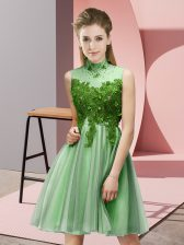 Apple Green Lace Up Court Dresses for Sweet 16 Appliques Sleeveless Knee Length