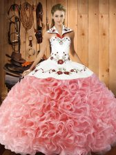 Halter Top Sleeveless Lace Up Quinceanera Dresses Watermelon Red Fabric With Rolling Flowers