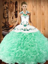 Unique Apple Green Ball Gowns Halter Top Sleeveless Fabric With Rolling Flowers Floor Length Lace Up Embroidery Sweet 16 Dress
