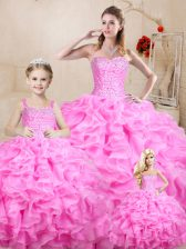 Beading and Ruffles Vestidos de Quinceanera Rose Pink Lace Up Sleeveless Floor Length