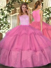 Traditional Scoop Sleeveless Organza Sweet 16 Dresses Lace and Ruffled Layers Clasp Handle