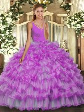 Noble Lilac Ball Gowns Organza V-neck Sleeveless Ruffled Layers Floor Length Backless Quinceanera Dress