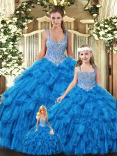 Floor Length Teal Quinceanera Gowns Scoop Sleeveless Lace Up