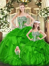 Green Strapless Lace Up Beading and Ruffles Ball Gown Prom Dress Sleeveless