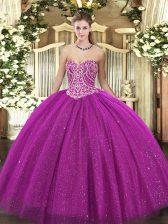 Extravagant Fuchsia Tulle Lace Up Ball Gown Prom Dress Sleeveless Floor Length Beading