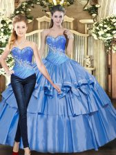 Modern Baby Blue Ball Gowns Beading and Ruffled Layers Quinceanera Dress Lace Up Tulle Sleeveless Floor Length