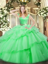Amazing V-neck Sleeveless 15 Quinceanera Dress Floor Length Ruffled Layers Green Organza