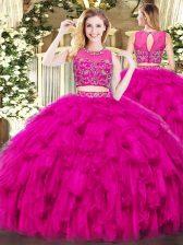 Fine Fuchsia Scoop Zipper Beading and Ruffles Sweet 16 Dresses Sleeveless