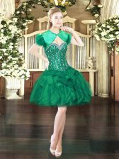 Fine Mini Length Ball Gowns Sleeveless Dark Green Prom Party Dress Lace Up