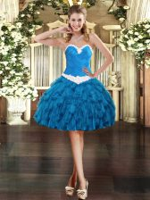Ideal Blue Organza Lace Up Prom Party Dress Sleeveless Mini Length Appliques and Ruffles