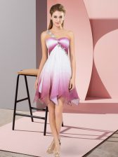 Multi-color Sleeveless Asymmetrical Beading Lace Up Prom Evening Gown