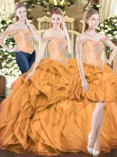High Class Orange Red Off The Shoulder Lace Up Beading and Ruffles 15th Birthday Dress Sleeveless