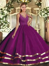 Floor Length Backless Vestidos de Quinceanera Purple for Sweet 16 and Quinceanera with Ruffled Layers