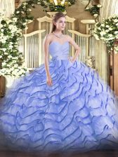 Lovely Blue Organza Lace Up Sweetheart Sleeveless Quinceanera Dress Brush Train Beading and Ruffled Layers