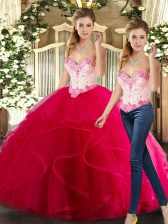Pretty Hot Pink Sleeveless Beading and Ruffles Floor Length Ball Gown Prom Dress