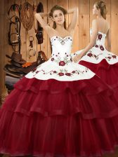 Fashion Wine Red Quinceanera Dresses Sweetheart Sleeveless Sweep Train Lace Up