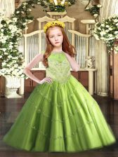 Ball Gowns Tulle Scoop Sleeveless Beading and Appliques Floor Length Zipper Little Girl Pageant Dress