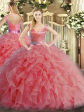 V-neck Sleeveless Ball Gown Prom Dress Floor Length Ruffles Watermelon Red Organza