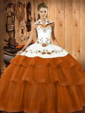 Brush Train Ball Gowns Sweet 16 Dress Rust Red Halter Top Satin and Organza Sleeveless Lace Up