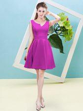 Satin Sleeveless Mini Length Dama Dress and Ruching
