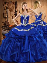 Traditional Sweetheart Sleeveless Lace Up Sweet 16 Quinceanera Dress Royal Blue Satin and Organza