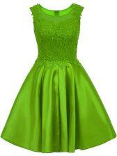 Glamorous A-line Lace Dama Dress for Quinceanera Zipper Satin Sleeveless Mini Length