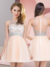 Extravagant Tulle Sleeveless Mini Length Prom Dress and Beading