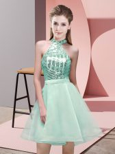 Mini Length Backless Dama Dress for Quinceanera Apple Green for Prom and Party and Wedding Party with Sequins
