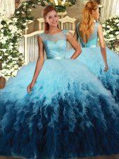 Ruffles Sweet 16 Dresses Multi-color Backless Sleeveless Floor Length