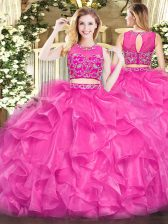Sleeveless Tulle Floor Length Zipper 15 Quinceanera Dress in Hot Pink with Beading and Ruffles